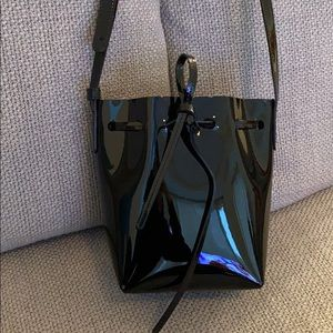 Mansur Gavriel Mini black patent bucket bag